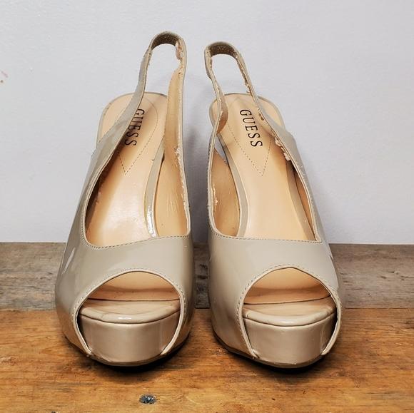 Ralph Lauren Ronna Womens 5 B Nude Patent Leather Peep